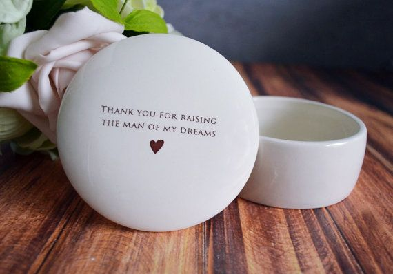 Unique Mother of the Groom Gift - Keepsake Box - Thank you for raising the man of my dreams - Gift Boxed $24.99. This lovely keepsake/jewelry box would be a perfect mother of the groom gift and one that could be enjoyed all year around. #motherofthegroom #manofmydreams #jewelrybox