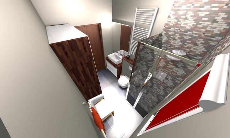 Mała łazienka , płytki mozaika , białe szafki + drewno