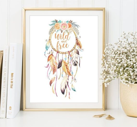 Dreamcatcher watercolor Flowers Wild and Free sign Feathers