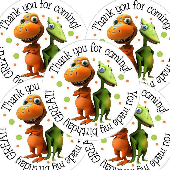 20 2 inch round dinosaur train birthday sticker by bafoodle 6 00
