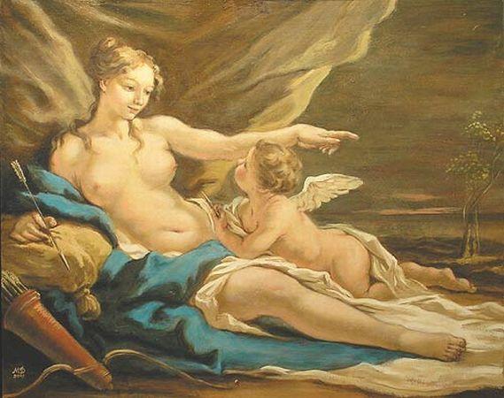 Aphrodite and Eros - Giovanni Antonio Pellegrini 1675 - 1741 - Pictify - your social art network