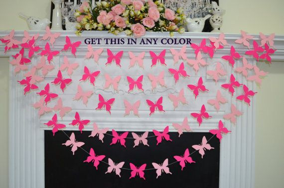 Butterfly garland, pink butterflies, butterfly theme birthday banner, baby shower decoration, baby room decor, butterfly banner, gold