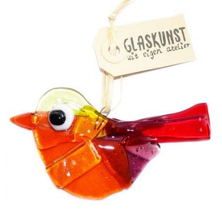 Handgemaakte oranje-rood-paars-gele glazen vogel. Unieke suncatcher vogel van glas!