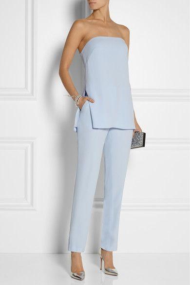 Sky-blue crepe Concealed button, hook and zip fastening at front 79% acetate, 21% viscose; pocket lining: 100% silk Dry clean Designer color: Blue Quartz
