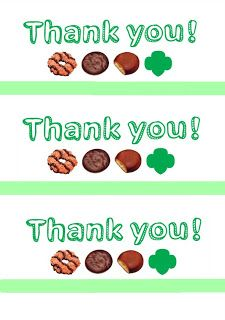 Girl Scout cookie thank you card printables