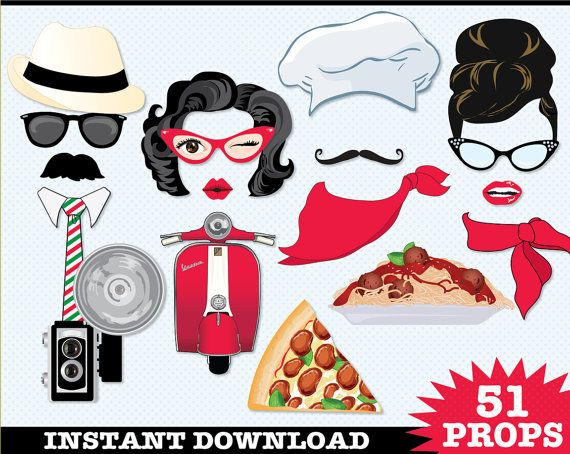 Italian Photo Booth Prop DIY Printable kit includes 51 props - Also great for a Pizza Party: $6.99