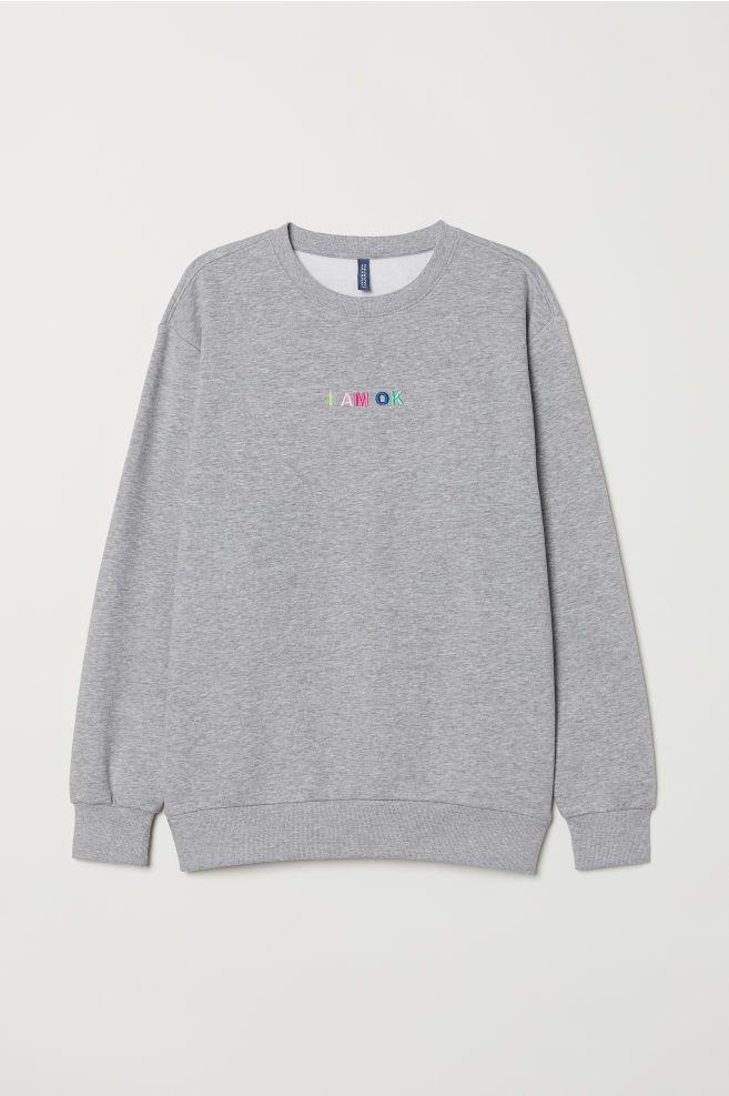 041fb9b8d144c Sweatshirt with Motif - Light gray melange I am OK - Men