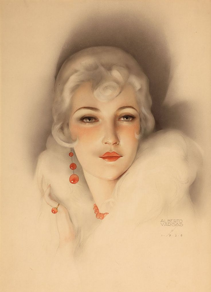 LARGE SIZE PAINTINGS: Alberto VARGAS Flapper with White Mink, Red Bead E...