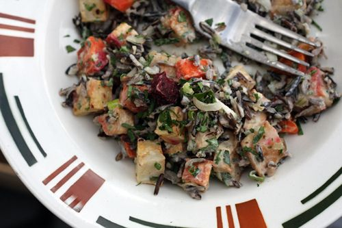 Wild Rice Salad with Roasted Vegetables and Lemon-Tahini Dressing from ...