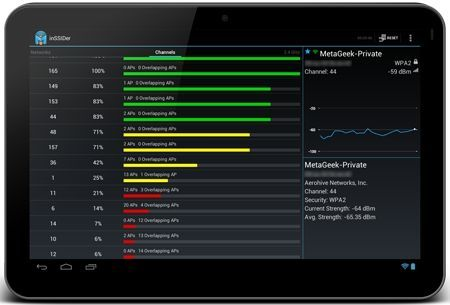 Android App WiFi Network Scanner per scelta Canale AP