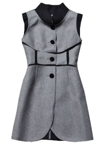 Grey Stand Collar Sleeveless Buttons Woolen Dress pictures
