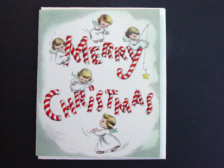 #H646- Vintage Unused Xmas Greeting Card Sweet Angels & Candy Cane Letters