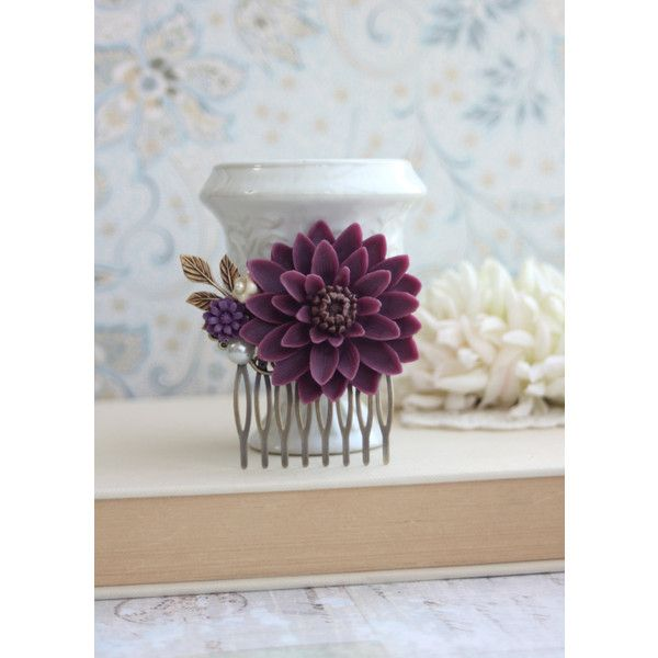 Purple Wedding Floral Comb Large Chrysanthemum Flower Bridal Hair Comb... ($25) ❤ liked on Polyvore featuring accessories, hair accessories, decorative combs, grey, bridal hair comb, beaded hair combs, floral hair accessories, bridal comb and leaf hair accessories