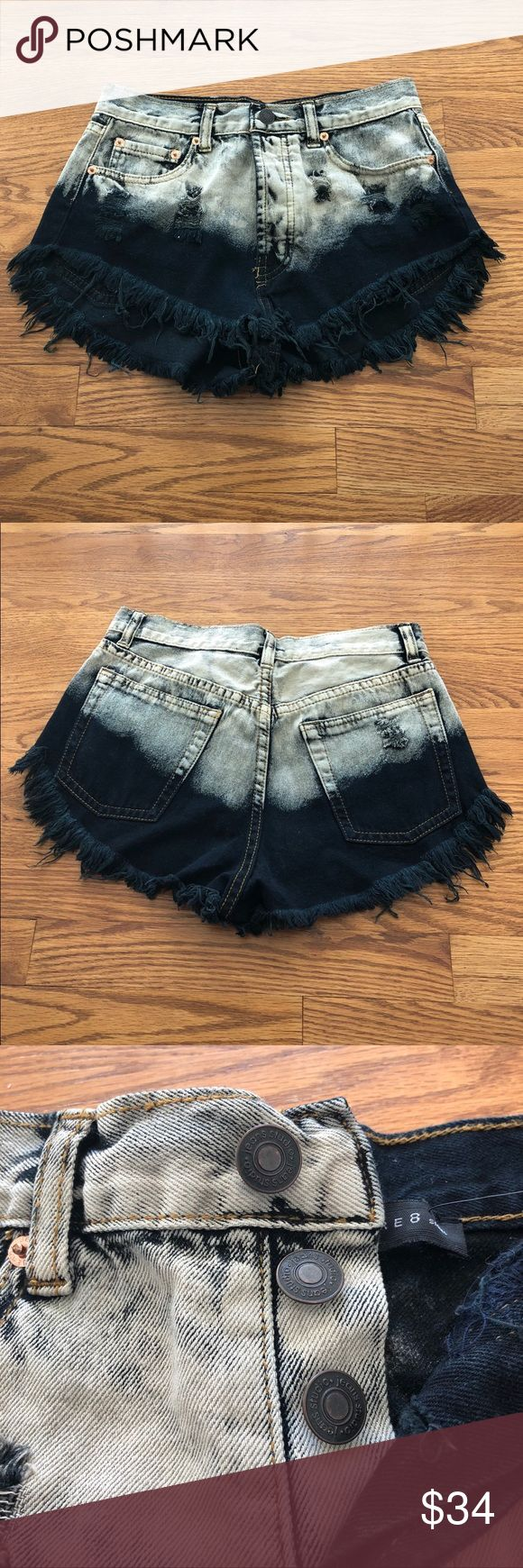 Signature 8 Dip Dye Denim Shorts Brand New. Signature 8 High Rise Denim Dip Dye Shorts with button up fly. Size Small. Pairs really well with a crop top! Signature 8 Shorts Jean Shorts