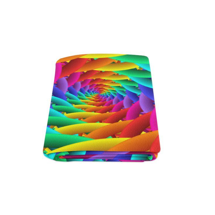 "Psychedelic Rainbow Spiral Blanket Blanket 58""x80"""