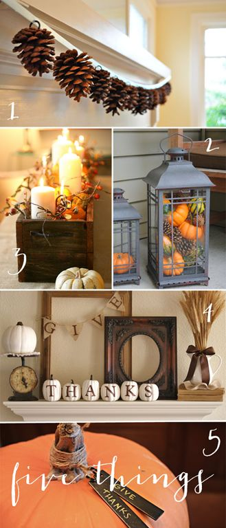 Love the pumpkins spelling out THANKS for a mantel.