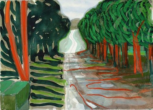 #Woldgate-with-red #trees-David-#Hockney