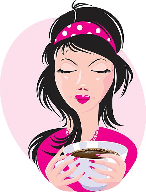 Best Woman Drinking Coffee Illustrations, Royalty-Free ...