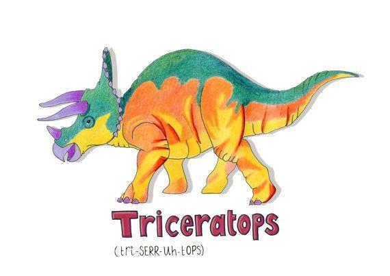 Triceratops dinosaur nursery wall art dinosaur by HelloDeerDesigns