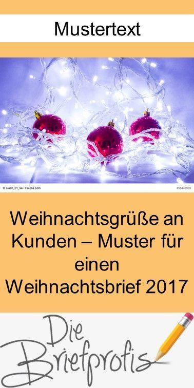 Muster-Weihnachtsbrief 2017 an Kunden - Mustertext für die Geschäftskorrespondenz