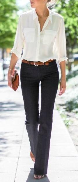 white shirt. wide leg jeans.