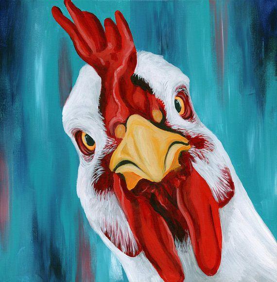 Chicken Painting – Farm Animal Painting – Chicken Art – Vegan Painting – Colorful Chicken Painting – Farmhouse Wall Decor