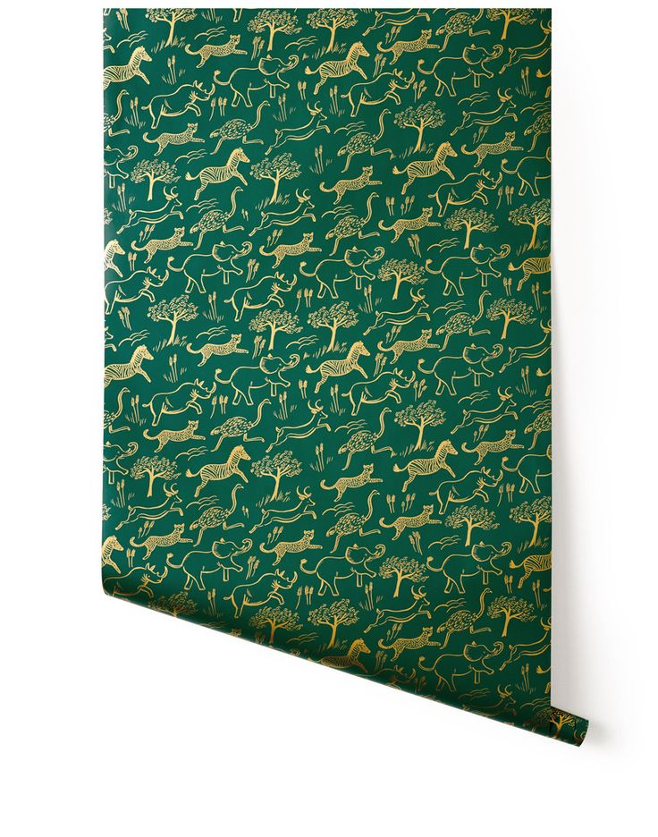 Safari (Hunter) kids room wallpaper from rifle paper co