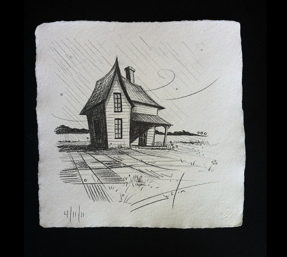 The old farm house original drawing on twinrocker by for How to draw a farmhouse