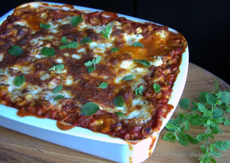lasagne med pulled chicken