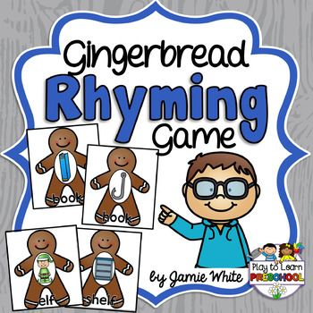 Young children need lots of practice playing with rhyming words.  This is a simple set of 12 pairs of rhyming gingerbread cookies. Use them to play concentration, memory, go fish, or as a file folder game.This gingerbread game would be a great addition to this complete Gingerbread Circle Time Unit.