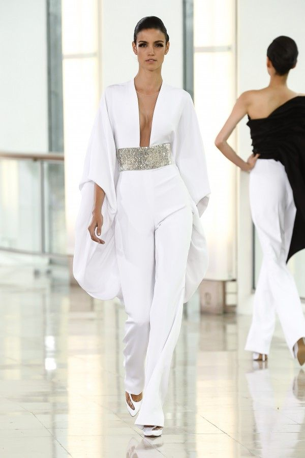 Stephane Rolland - White embroidered silk crepe jumpsuit.- 06SRHC2015
