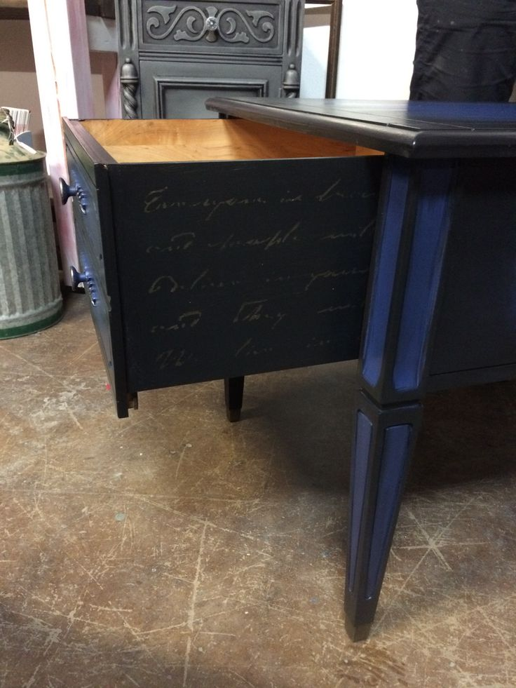 Love the stencil script on the inside of these drawers.   Painted with Country Chic Paint Midnight Sky and Liquorice.  Stencils By mudderitaville #tracystreasures02 #countrychicpaint #mudderitaville
