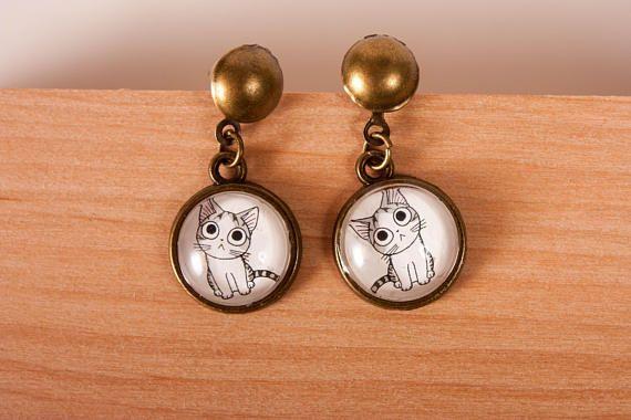 Cat mom Earrings with cat pattern cat earrings tiny