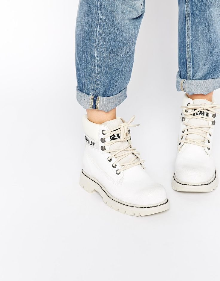 Image 1 of Cat Footwear Colorado Burnish Brights Off White Leather Ankle Boots