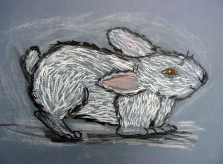 Chalk and charcoal rabbit-Rodeo idea