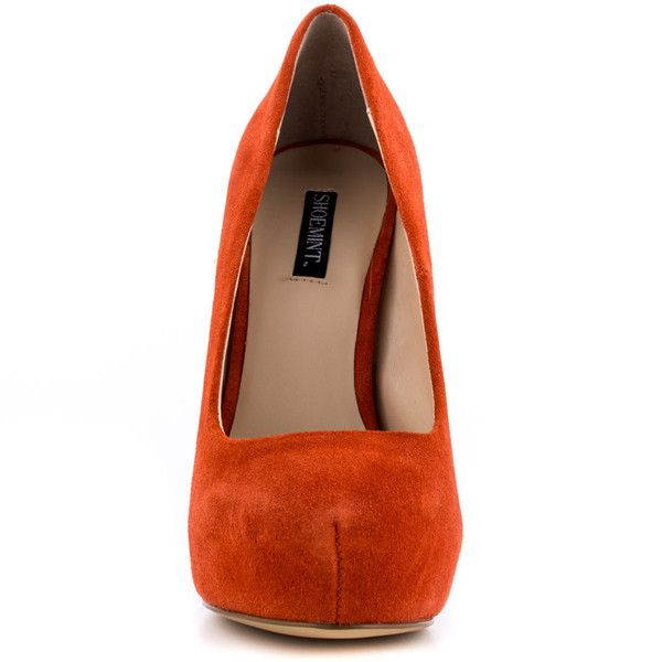 Shoemint Women's Carrie - Orange Suede ($106) ❤ liked on Polyvore featuring shoes, pumps, suede platform pumps, high heel platform pumps, orange platform pumps, orange pumps and platform pumps