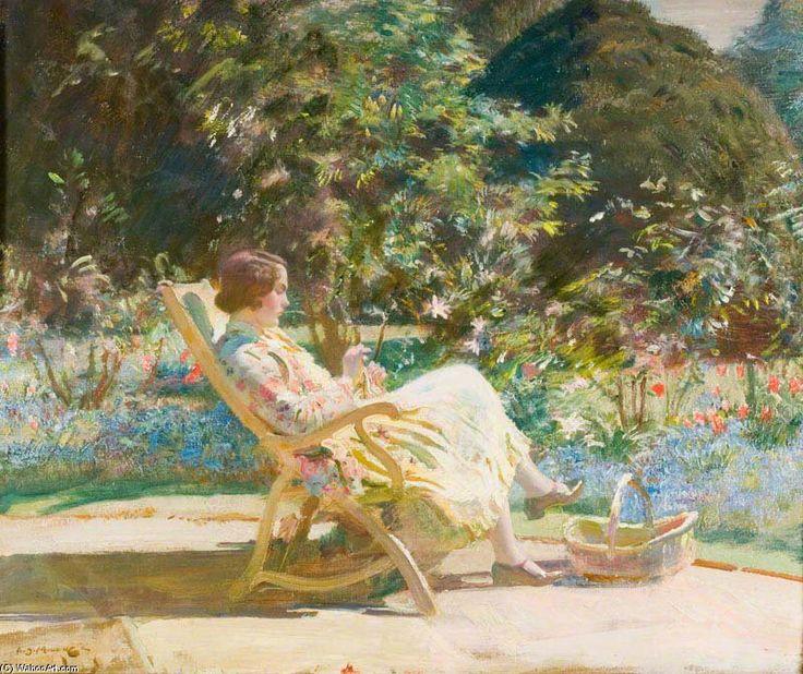 Violet, mon épouse, dans le jardin de Sir Alfred James Munnings (1878-1959, United Kingdom)