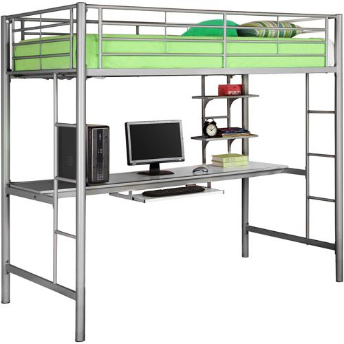 Twin Premium Metal Loft Bed With Workstation Silver