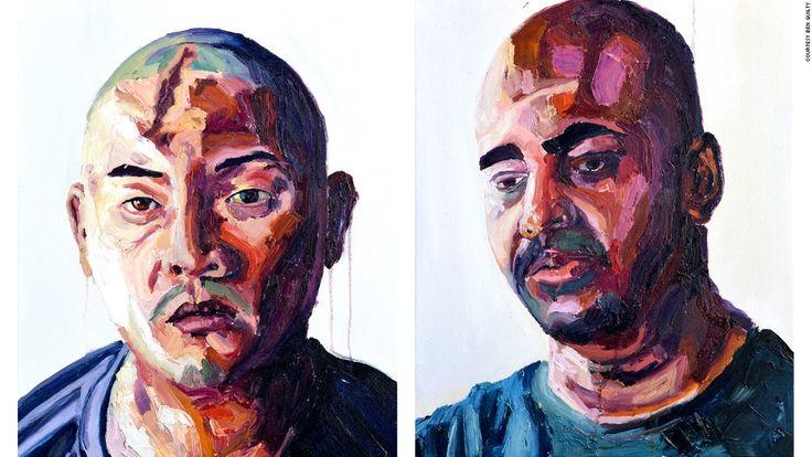 Myuran Sukumaran, self portrait and portrait of fellow death-row inmate Andrew Chan.