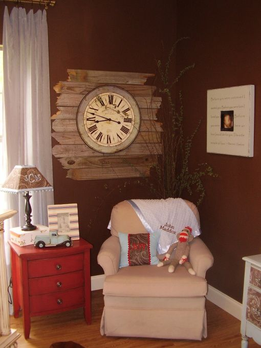 Love the clock in this vintage/rustic baby boy room. It doesn't look hard to make. A clock and some old wood from a fence.