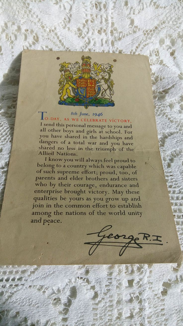 Message from King George VI to Britain's Schoolchildren, June 1946 by MrsOldSchoolShop on Etsy