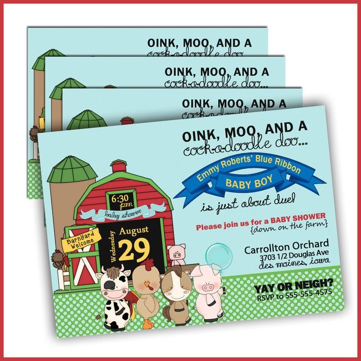 Farm Baby Shower Invitations - Blue Ribbon Baby Country Baby Shower Invitations - Set of 12 Invites. $18.00, via Etsy.