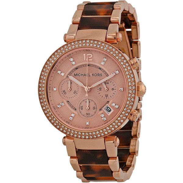 Michael Kors Parker Chronograph Rose Dial Rose Gold-plated... ($160) ❤ liked on Polyvore featuring jewelry, watches, tortoise jewelry, tortoise watches, rose gold plated jewelry, chronograph watch and tortoise shell jewelry