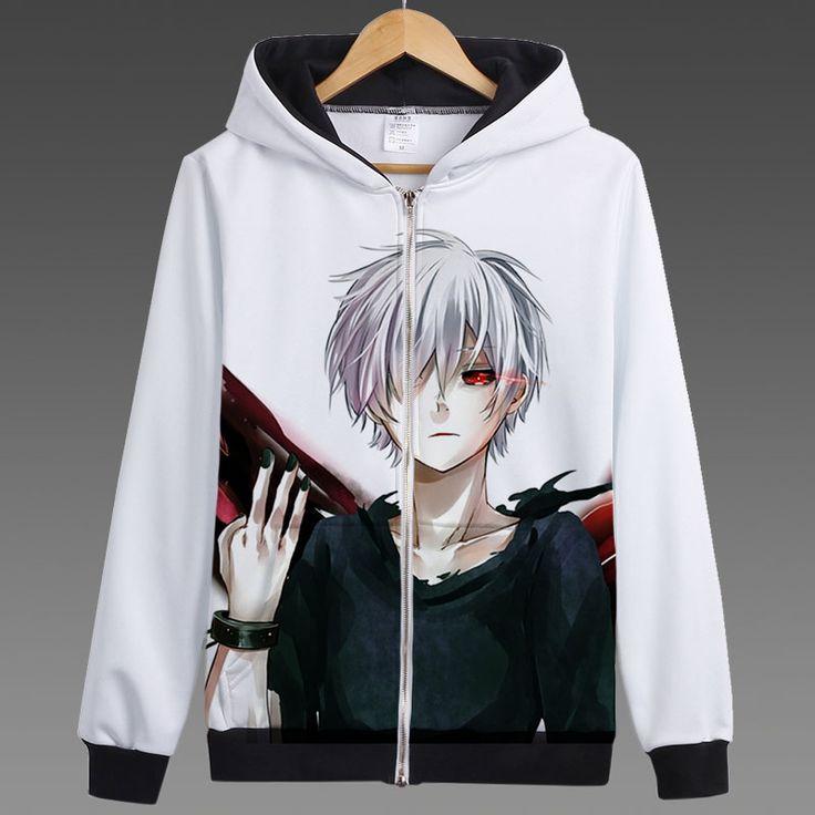 Anime Tokyo Ghoul Ken Kaneki Printed Hoodies Hooded Zip Up Sweatshirts New 2017 Touka Kirishima Hoodie Free Shipping