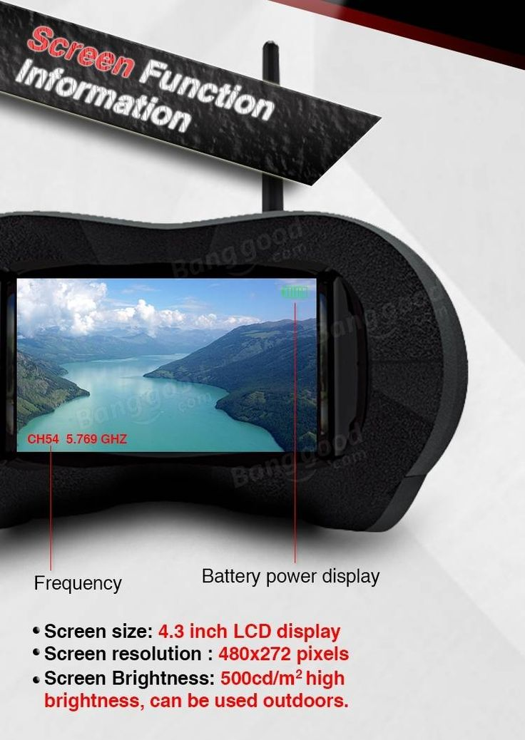Eachine VR-007 Pro VR007 5.8G 40CH FPV Goggles 4.3 Inch Video Headset With 3.7V 1600mAh Battery