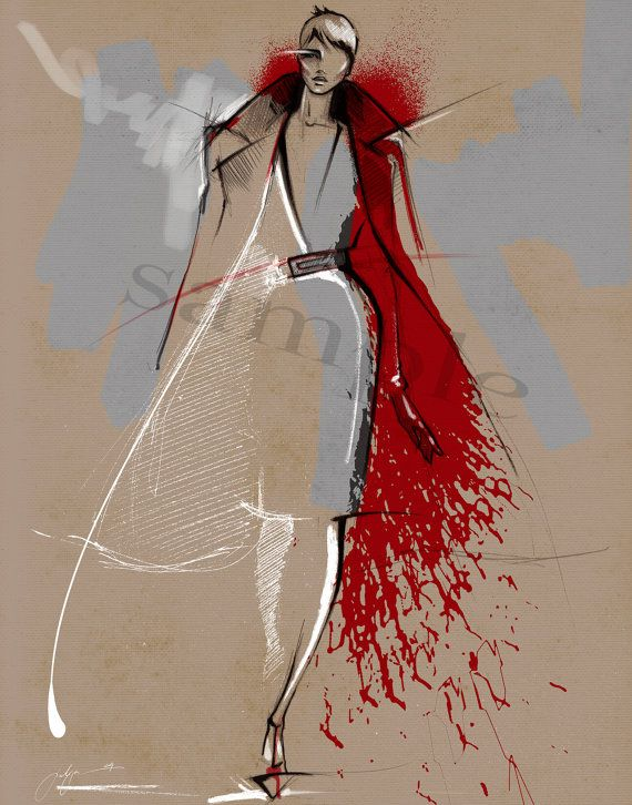 Oscar de la Renta fashion illustration print / от JulijaLubgane