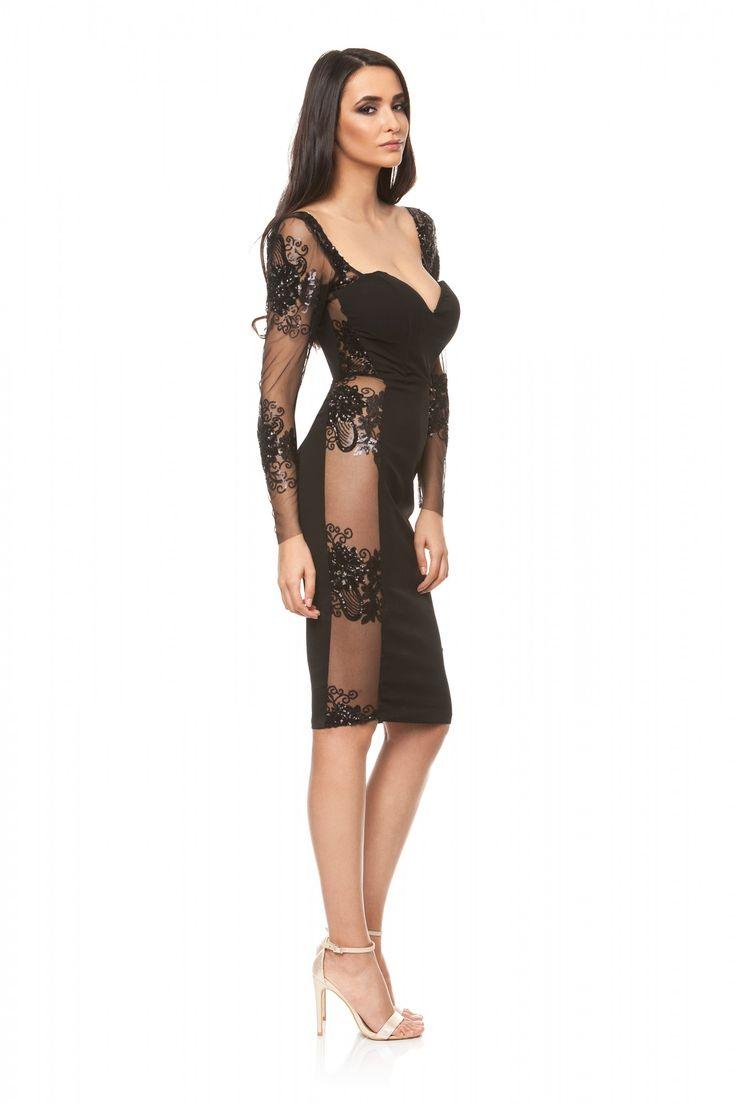 Rochie neagra eleganta din triplu voal si dantela SS21 de la Ama Fashion Rochie eleganta transparenta in lateral