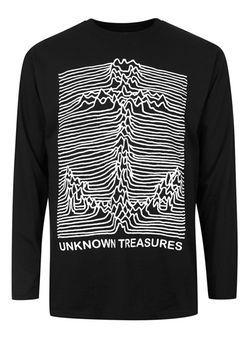 ART DISCO Black Unknown Treasures Print Long Sleeve T-Shirt*