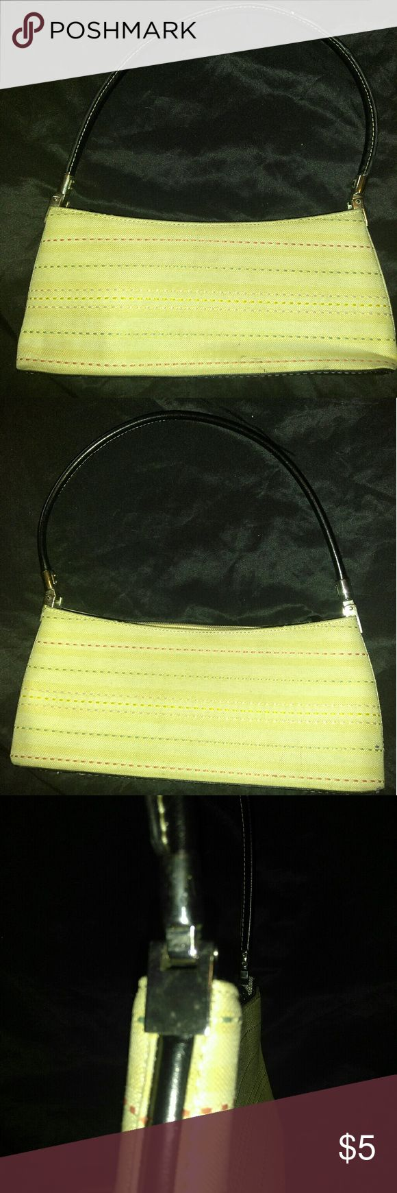 Cream shoulder bag beautiful small shoulder bag. Great quality stiff bag. This bag has a few Light stains as shown on the pictures above. Clean inside and good straps. No brand. no brand Bags Shoulder Bags