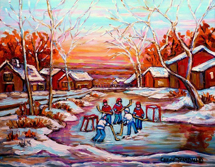 Oeuvre carole spandau paysage d hiver quebec hockey for Patinoire exterieur montreal